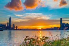 Coucher du soleil chez Victoria Harbor Photo stock