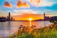 Coucher du soleil chez Victoria Harbor Image stock