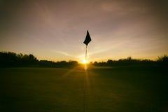 Coucher du soleil classieux de terrain de golf de désert de l'Arizona Photos libres de droits