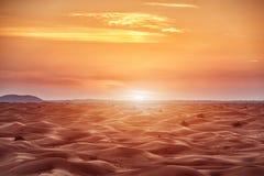 Coucher du soleil coloré au-dessus de désert Photos stock