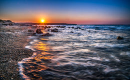 Coucher du soleil crétois Images libres de droits