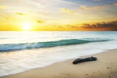 Coucher du soleil d'été au-dessus de la mer Image libre de droits