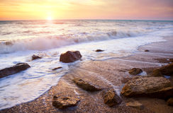 Coucher du soleil d'été au-dessus de la mer Images libres de droits