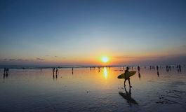 Coucher du soleil d'île de Bali, kuta Photos libres de droits