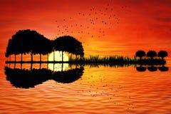 Coucher du soleil d'île de guitare Image libre de droits
