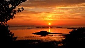 Coucher du soleil d'île de Herm Photos libres de droits