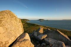 Coucher du soleil d'île de Herm Photographie stock libre de droits