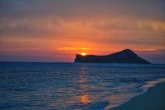 Coucher du soleil d'île de lapin photo stock