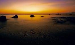 Coucher du soleil d'île de Pulau Perhentian Kecil Photos stock