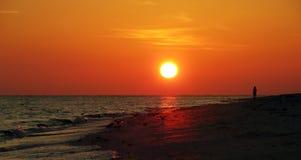 Coucher du soleil d'île de Sanibel Photographie stock