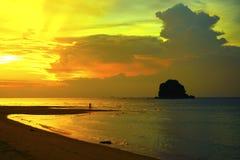 Coucher du soleil d'île de Tioman Images libres de droits