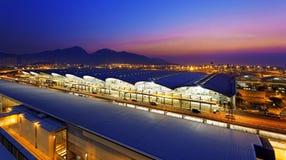 Coucher du soleil d'aéroport de Hong Kong Images stock
