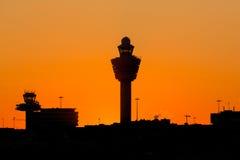 Coucher du soleil d'aéroport de Schiphol Photo libre de droits
