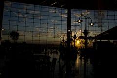 Coucher du soleil d'aéroport de Seattle Image libre de droits