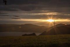 Coucher du soleil d'Abersee Photo stock