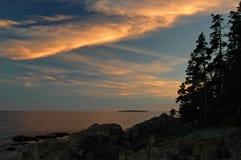 Coucher du soleil d'Acadia Photos libres de droits