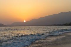 Coucher du soleil d'Alanya Photographie stock libre de droits