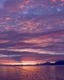 Coucher du soleil d'Alaska Photographie stock