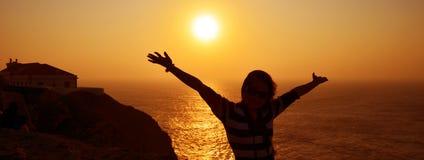 Coucher du soleil d'Algarve photographie stock libre de droits