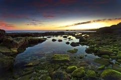 coucher du soleil d'Algarve Portugal Photo stock