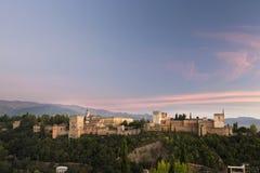 Coucher du soleil d'Alhambra Image stock