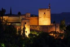 coucher du soleil d'alhambra Photos stock