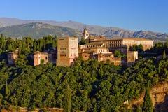 coucher du soleil d'alhambra Grenade Image libre de droits