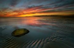 Coucher du soleil d'Allonby Photo libre de droits