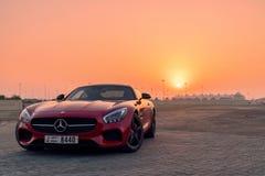 Coucher du soleil d'amg de Mercedes SLS GTs Photographie stock libre de droits