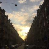 Coucher du soleil d'Amsterdam Photo libre de droits