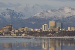 Coucher du soleil d'Anchorage Photos stock