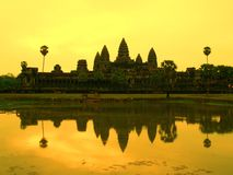 Coucher du soleil d'Angkor Wat Images stock