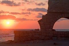coucher du soleil d'aquaeductus Photo stock