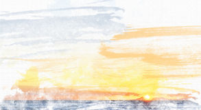 Coucher du soleil d'aquarelle au-dessus de Valsbay Photo stock