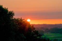 Coucher du soleil d'arbre Photos libres de droits