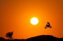 Coucher du soleil d'arbre de Moto X photo libre de droits