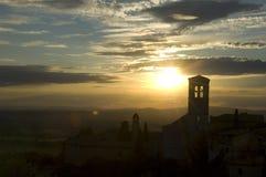 Coucher du soleil d'Assisi Photo libre de droits