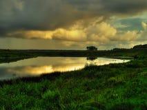 Coucher du soleil d'or au-dessus du fleuve Photo stock