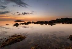 Coucher du soleil d'or au kudat Sabah Photographie stock