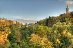 Coucher du soleil d'automne au Luxembourg Photo stock