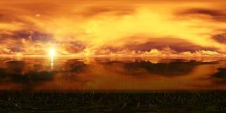 Coucher du soleil d'or dans l'océan Image stock