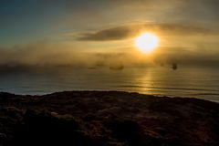 Coucher du soleil d'or de côte de l'Orégon Photographie stock
