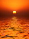 Coucher du soleil d'or de corps rond Images stock