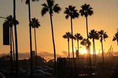 Coucher du soleil d'or de Long Beach Image libre de droits