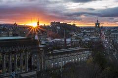 Coucher du soleil d'Edimbourg images libres de droits