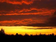Coucher du soleil d'enfer Photo stock
