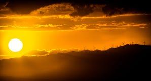 Coucher du soleil d'Eolic Images stock
