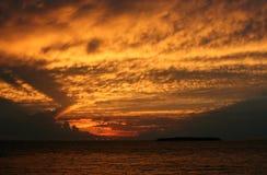 Coucher du soleil d'Erie de lac Photo stock