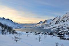 Coucher du soleil d'Ersfjordbotn Photo stock