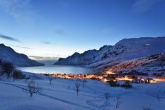 Coucher du soleil d'Ersfjordbotn Images stock